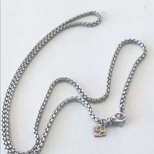 "David Yurman 22"" Small Box Chain Necklace 14k Logo"